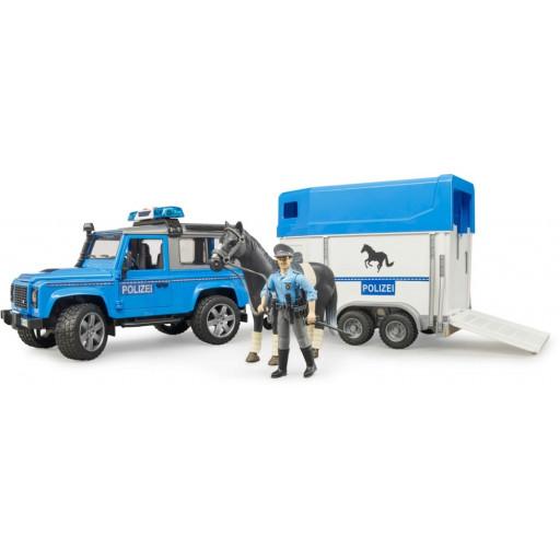 Land Rover Defender Polizia con rimorchio, cavallo e poliziotto